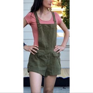 Free People Expedition Green Linen Short Overalls